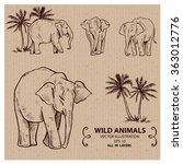 elephants  wild animals  hand... | Shutterstock .eps vector #363012776