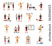 gym trainer set   Shutterstock . vector #363046025