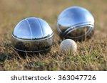 bocce balls on grass   Shutterstock . vector #363047726