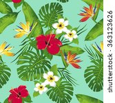 tropical flowers and leaves on... | Shutterstock .eps vector #363123626