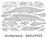 Vector Cartoon Crocodile  Fish...