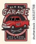 vintage garage retro poster.red ...   Shutterstock .eps vector #363137708