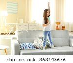 beautiful little girl singing... | Shutterstock . vector #363148676
