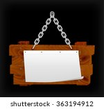 announcement on wooden board on ... | Shutterstock .eps vector #363194912