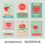 happy valentines day retro cards   Shutterstock .eps vector #363209618