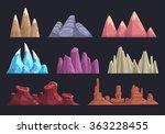 cartoon rocks and mountains set ...