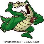 cartoon alligator running with... | Shutterstock .eps vector #363237335
