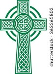 green celtic cross with details | Shutterstock .eps vector #363265802