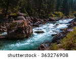 Rapid Flowing River Water With...