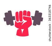 hand grasping dumbbell. vector... | Shutterstock .eps vector #363318746