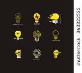 set of bulb logo. outline and... | Shutterstock .eps vector #363322532