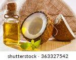 fresh coconut  bottle of oil... | Shutterstock . vector #363327542