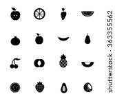 fruit black icon set vector... | Shutterstock .eps vector #363355562