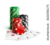 casino chips and cards isolated ... | Shutterstock .eps vector #363358175