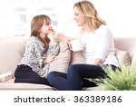 portrait of cheerful mother and ... | Shutterstock . vector #363389186