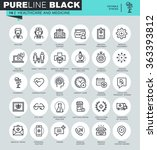 thin line icons set of... | Shutterstock .eps vector #363393812
