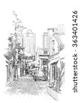 freehand sketch of old street | Shutterstock . vector #363401426