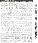 set of 155 line icons  clothing ... | Shutterstock .eps vector #363405416