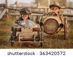 two boys  riders compete... | Shutterstock . vector #363420572