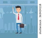 worker in bus going to office.... | Shutterstock .eps vector #363424118
