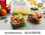 tasty lunch in plastic... | Shutterstock . vector #363438908