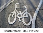 white painted bicycle on a... | Shutterstock . vector #363445922