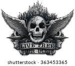 Live Free Or Die  Grunge Biker...