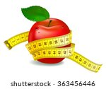 red apple with measuring tape.... | Shutterstock .eps vector #363456446