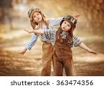 two little boys dream of being... | Shutterstock . vector #363474356