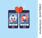 online dating app concept with... | Shutterstock .eps vector #363478862