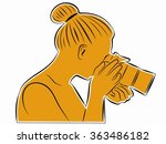 illustration woman with camera .... | Shutterstock .eps vector #363486182