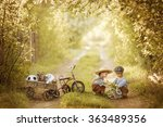 two little boys playing in the... | Shutterstock . vector #363489356