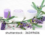 bowl of lavender bath caviar... | Shutterstock . vector #36349606