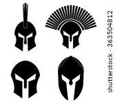 spartan helmet vector icon set | Shutterstock .eps vector #363504812