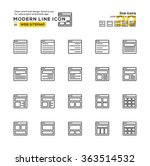 outline icon set of sitemap...
