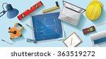 architect desk flat illustration | Shutterstock .eps vector #363519272