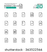 outline icon set of file and...