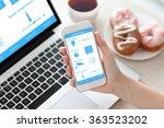 female hand holding white phone ... | Shutterstock . vector #363523202