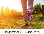 fitness girl running in a field ... | Shutterstock . vector #363550976