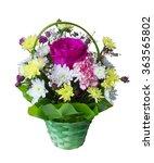 bouquet of flowers to a basket... | Shutterstock . vector #363565802
