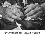 old woman's hands holding an... | Shutterstock . vector #363571595