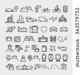 traffic vector line icons set  | Shutterstock .eps vector #363579752