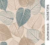 seamless pattern with leafs... | Shutterstock .eps vector #363587396