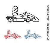 logo karting. man racing on... | Shutterstock .eps vector #363595508