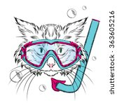 cat wearing a mask for diving.... | Shutterstock .eps vector #363605216