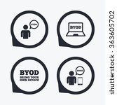 byod icons. human with notebook ... | Shutterstock . vector #363605702