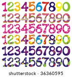 number set with abstract... | Shutterstock .eps vector #36360595