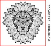 lion's head painted tribal...   Shutterstock .eps vector #363609722