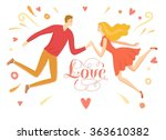 cute cartoon man and woman... | Shutterstock .eps vector #363610382