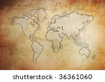 the world map on a grunge... | Shutterstock . vector #36361060